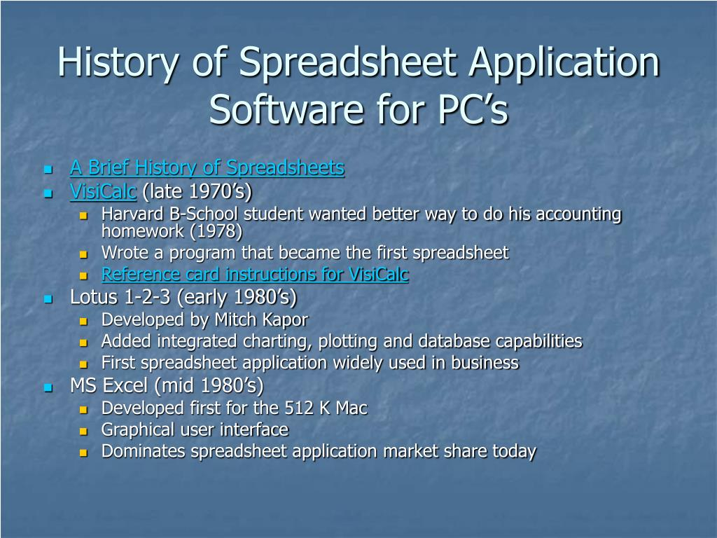 History of Spreadsheet Application Software for PC's