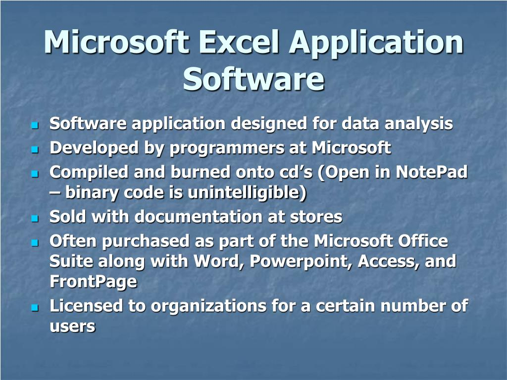 Microsoft Excel Application Software