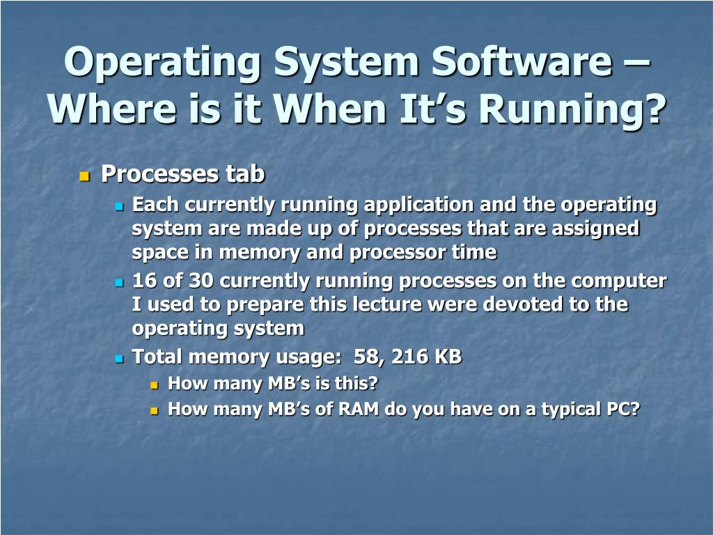 Operating System Software – Where is it When It's Running?