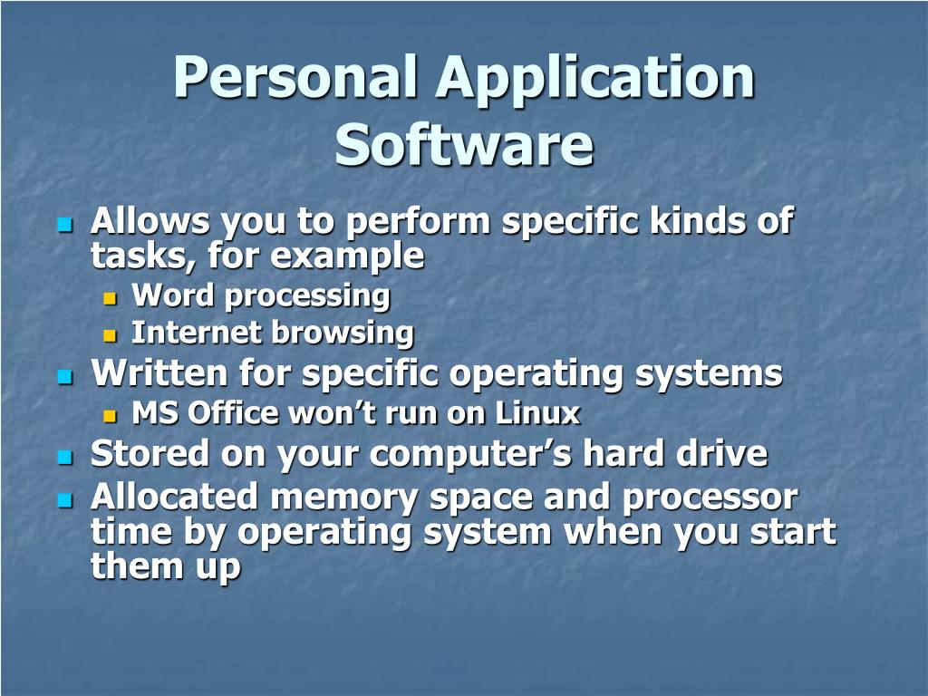 Personal Application Software