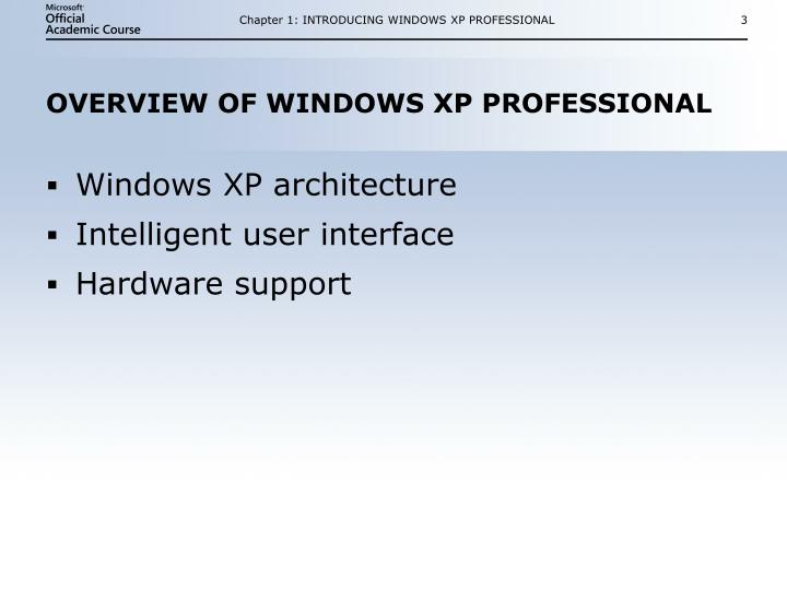 Overview of windows xp professional
