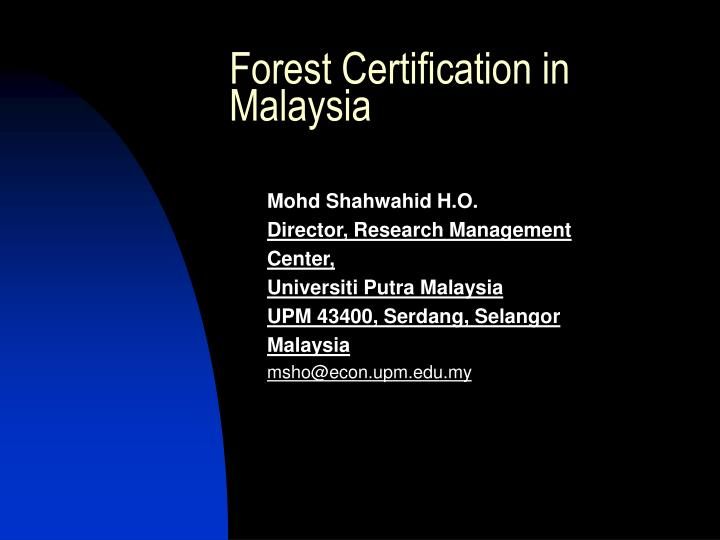forest certification in malaysia n.
