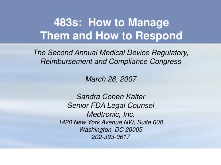 483s how to manage them and how to respond n.