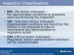 inspection classifications