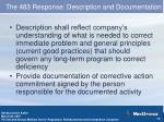 the 483 response description and documentation