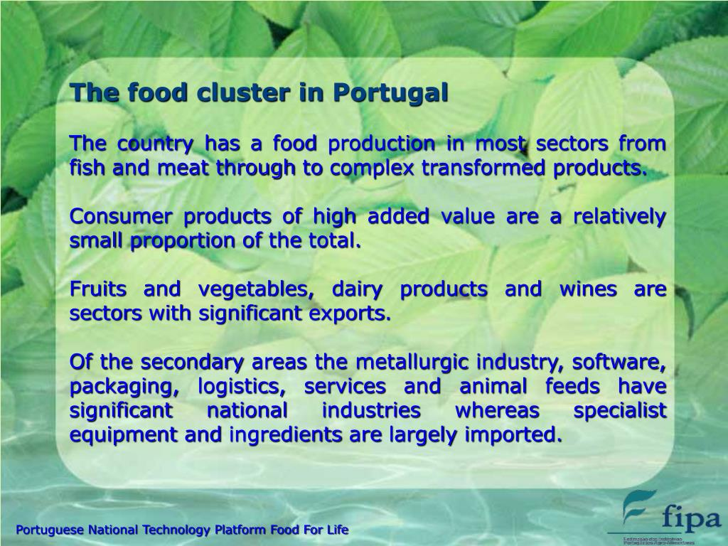 The food cluster in Portugal