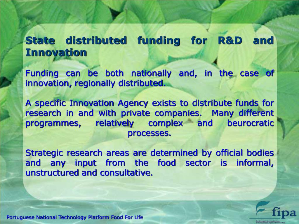 State distributed funding for R&D and Innovation