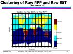 clustering of raw npp and raw sst num clusters 2