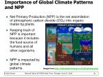 importance of global climate patterns and npp