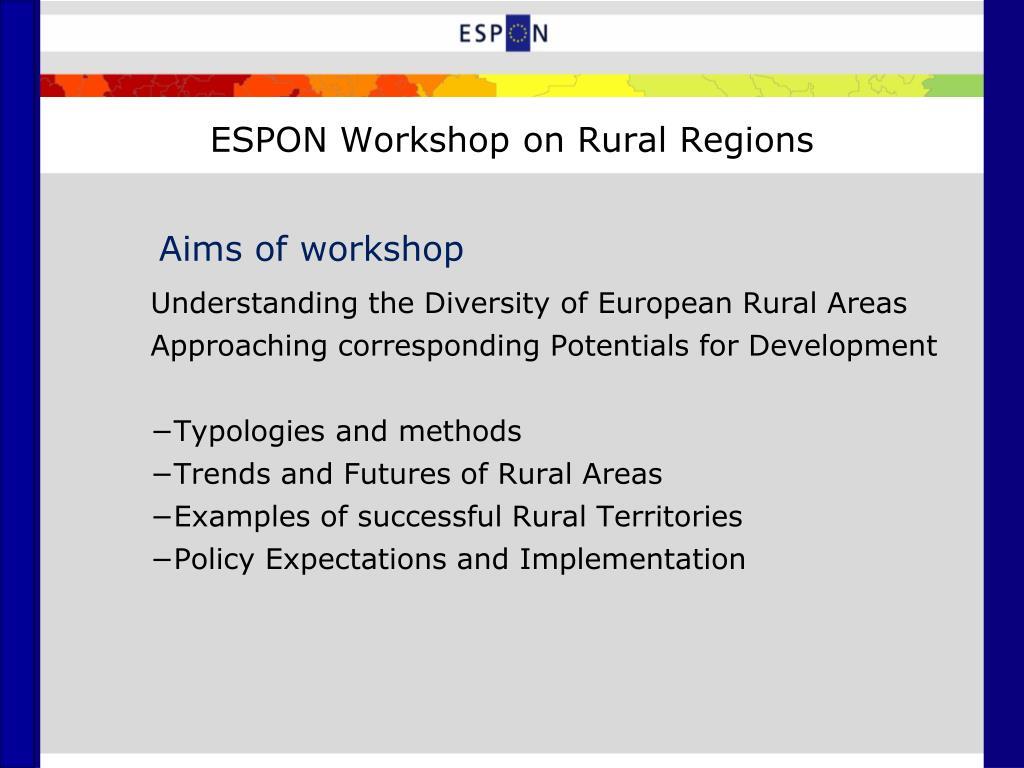 ESPON Workshop on Rural Regions