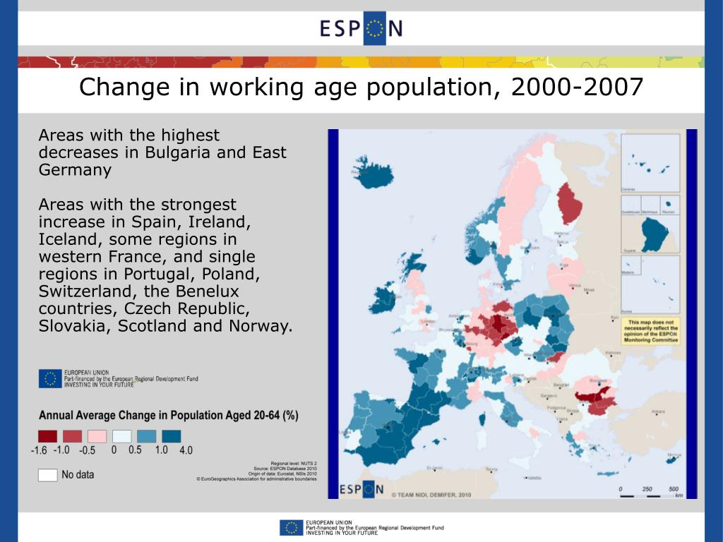 Change in working age population, 2000-2007