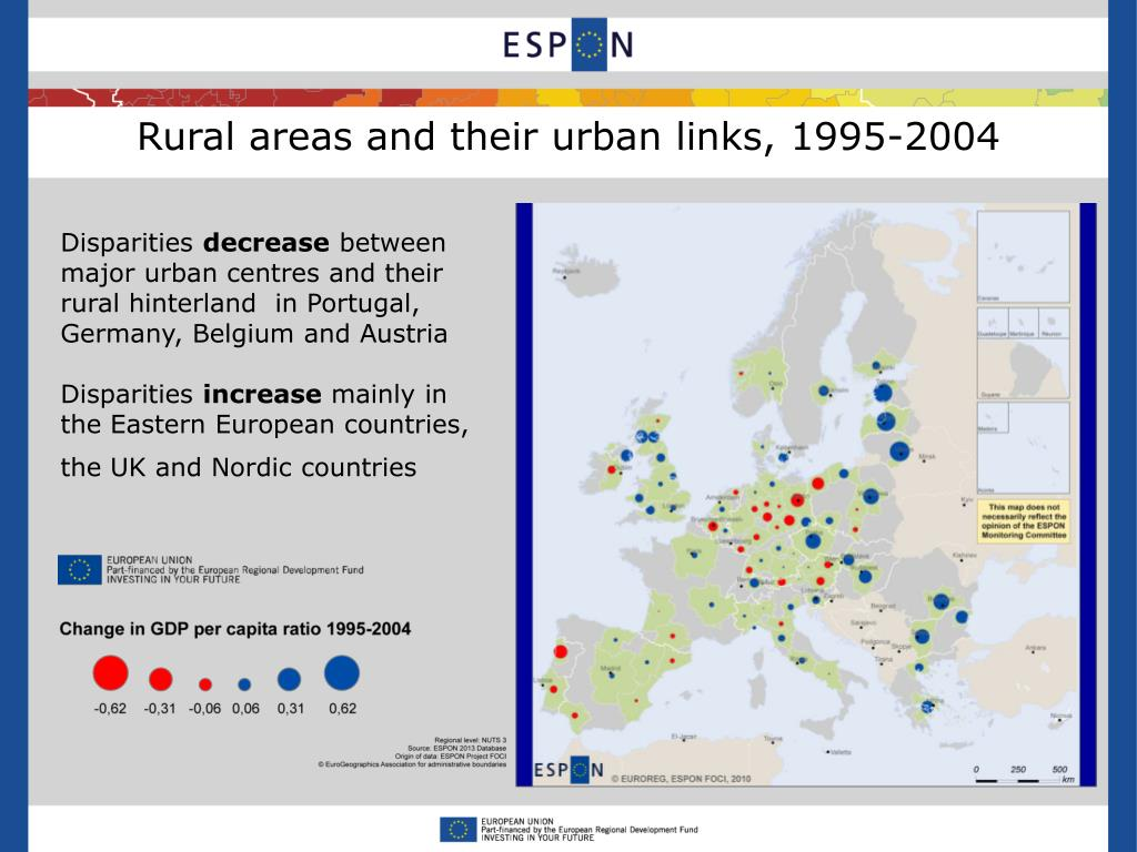 Rural areas and their urban links, 1995-2004