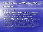 establishing an effective fod program