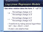 log linear regression models