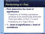 performing a t test