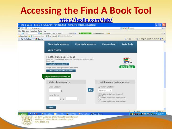 Accessing the Find A Book Tool