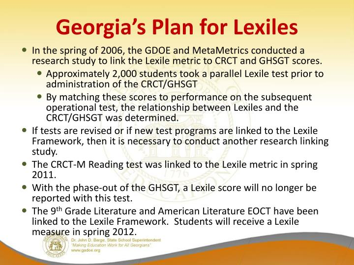 Georgia's Plan for Lexiles