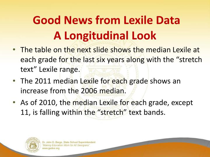 Good News from Lexile Data