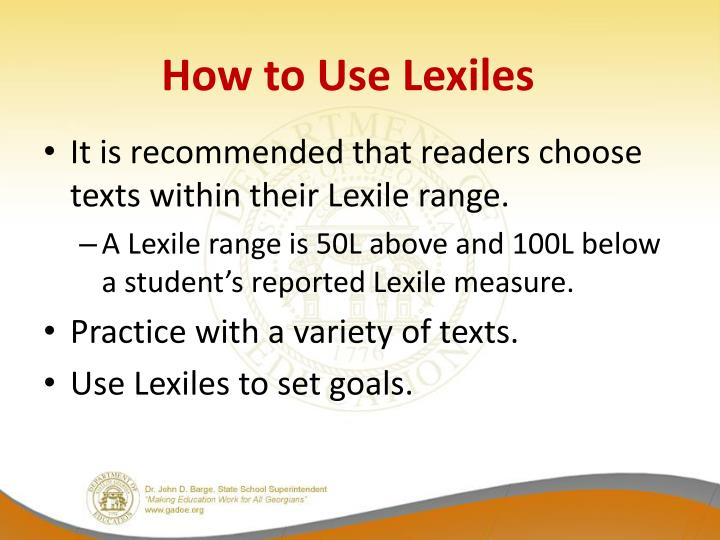 How to Use Lexiles