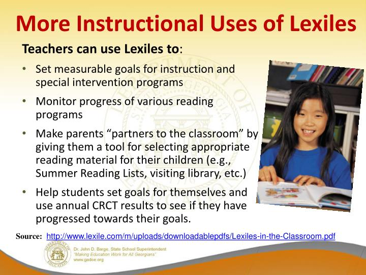 More Instructional Uses of Lexiles