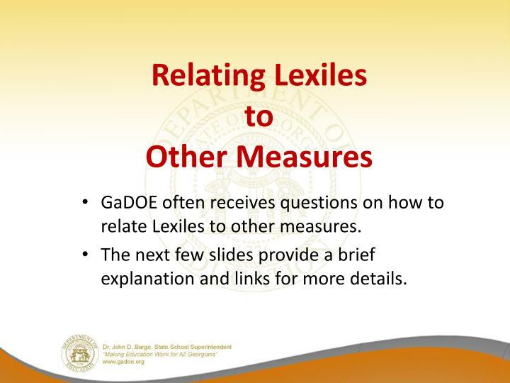 Relating Lexiles