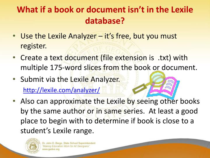 What if a book or document isn't in the Lexile database?
