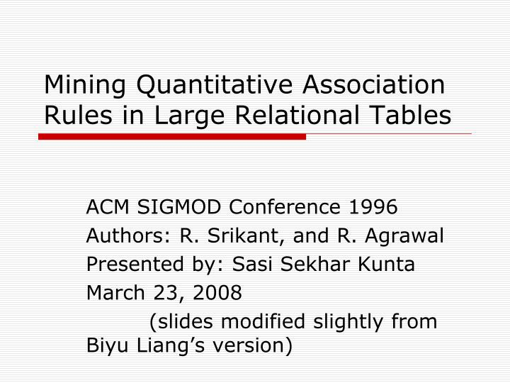 mining quantitative association rules in large relational tables n.