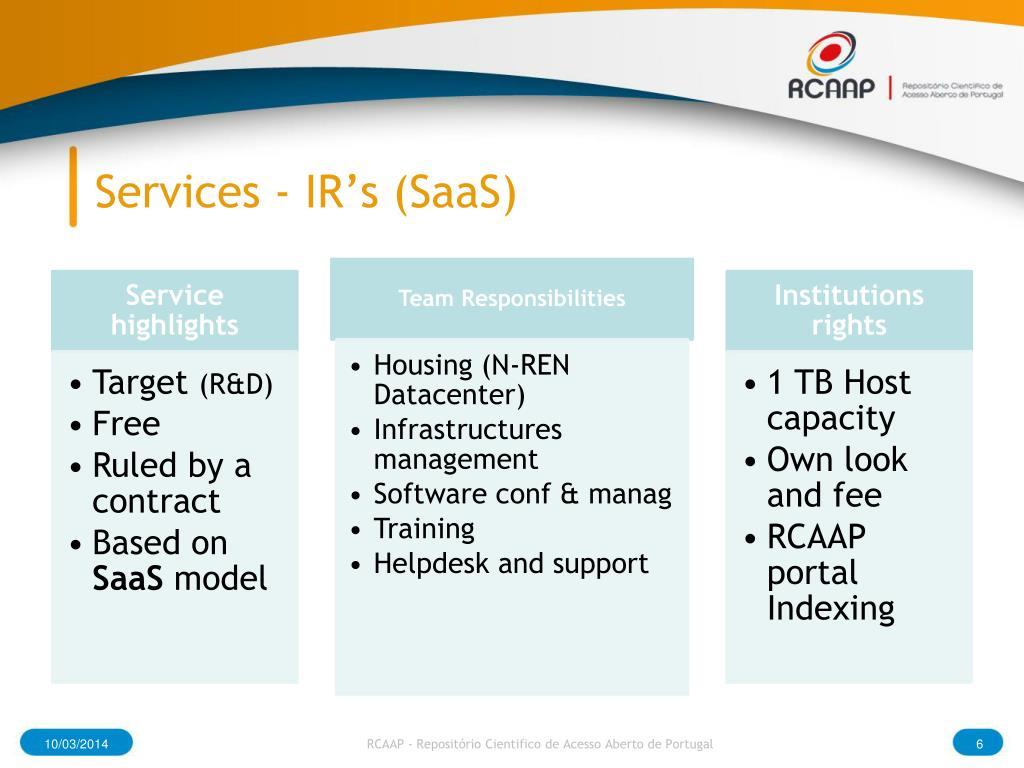 Services - IR's (SaaS)
