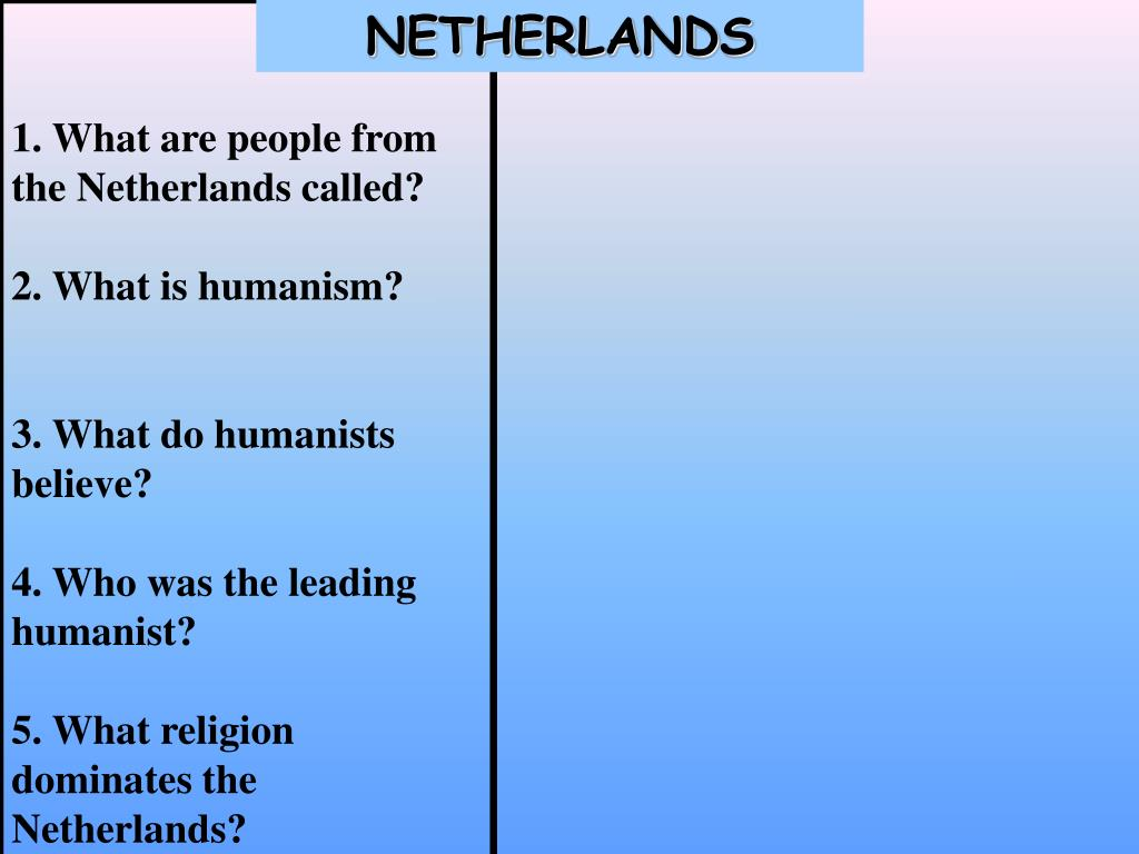 1. What are people from the Netherlands called?