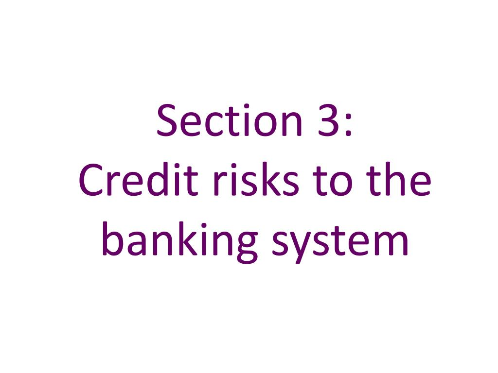 section 3 credit risks to the banking system l.