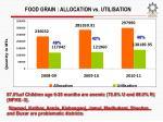 food grain allocation vs utilisation