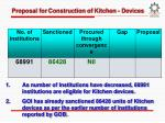 proposal for construction of kitchen devices
