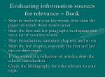 evaluating information sources for relevance book