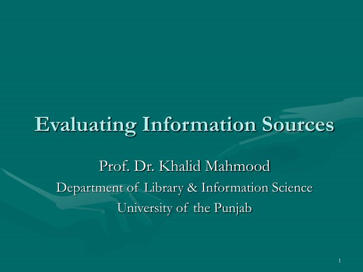 evaluating information sources n.