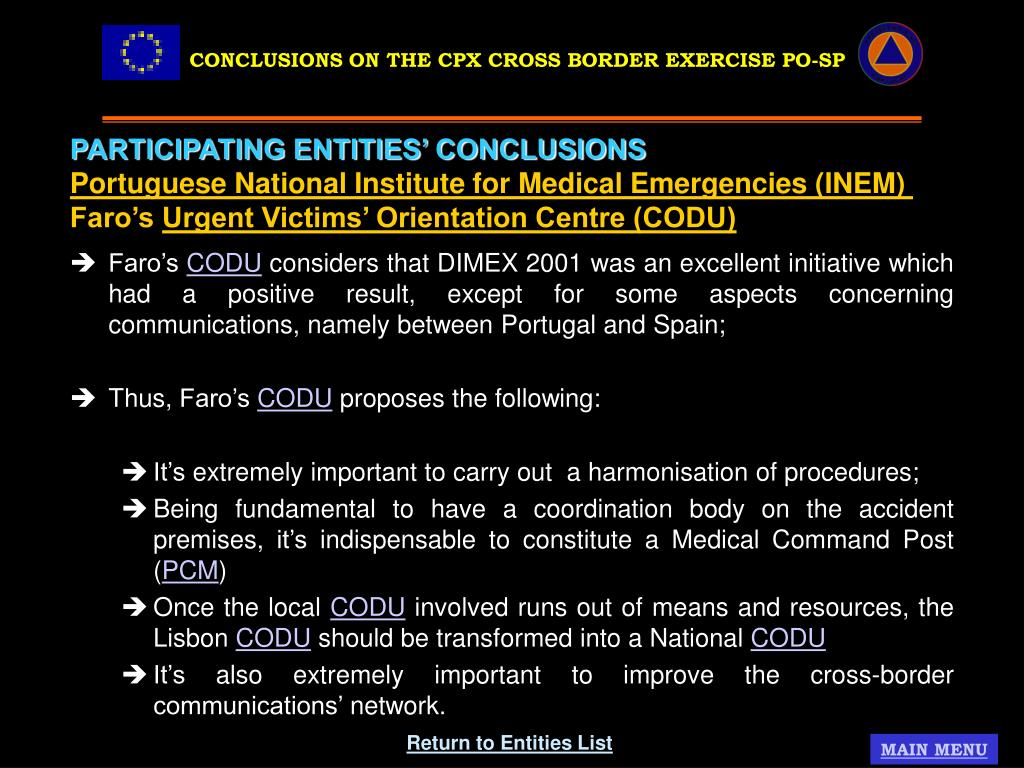 CONCLUSIONS ON THE CPX CROSS BORDER EXERCISE PO-SP