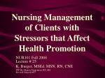 nursing management of clients with stressors that affect health promotion