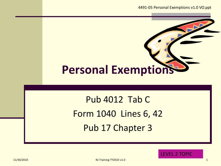personal exemptions n.