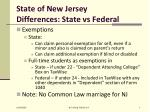 state of new jersey differences state vs federal