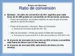 bonos con opciones ratio de conversi n