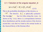 2 1 1 solution of the angular equation 6