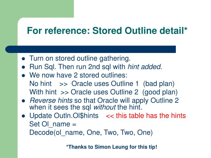 For reference: Stored Outline detail*