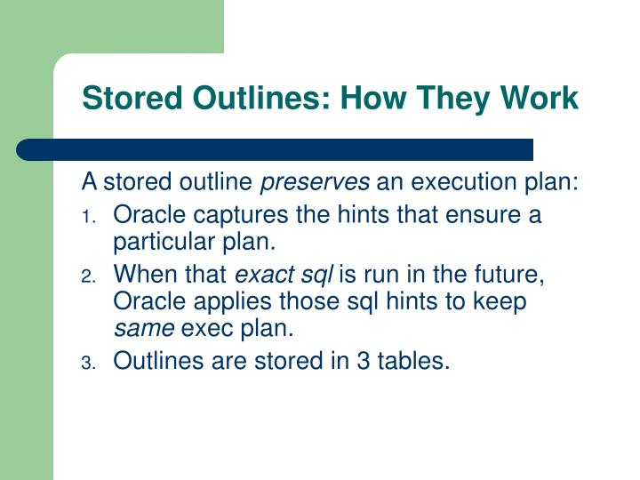 Stored Outlines: How They Work