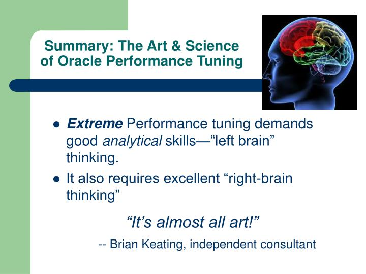 Summary: The Art & Science of Oracle Performance Tuning