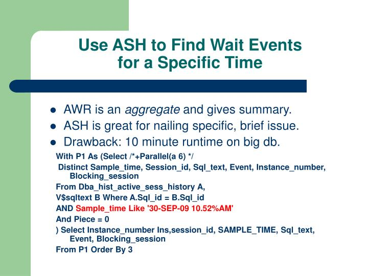 Use ASH to Find Wait Events