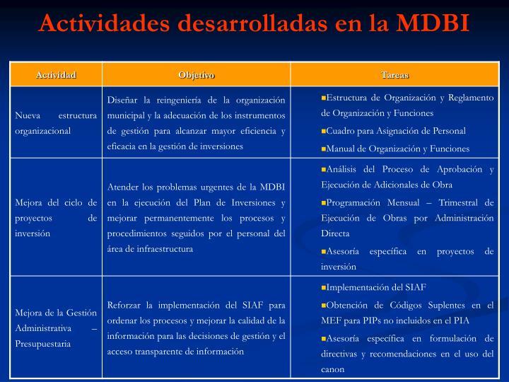 Actividades desarrolladas en la MDBI
