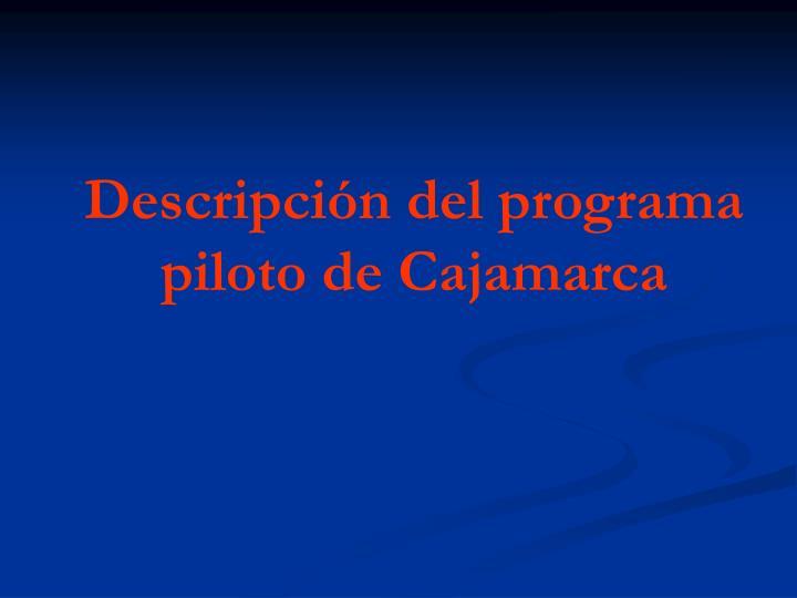 Descripción del programa piloto de Cajamarca