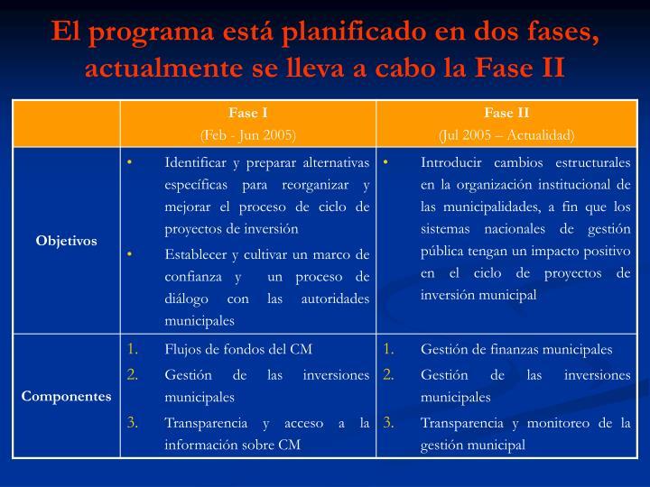 El programa está planificado en dos fases,