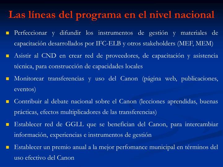 Las líneas del programa en el nivel nacional