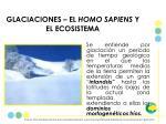 glaciaciones el homo sapiens y el ecosistema