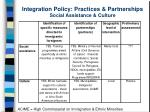 integration policy practices partnerships social assistance culture